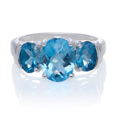 jcpenney.com | Genuine Blue And White Topaz Sterling Silver 3 Stone Ring