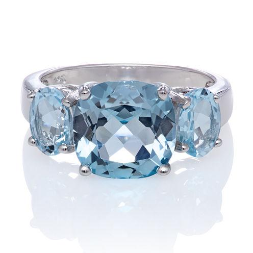 Genuine Sky Blue Topaz Sterling Silver 3 Stone Ring