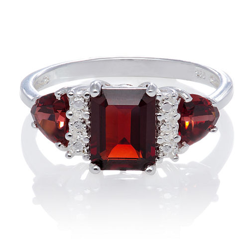 Genuine Garnet Sterling Silver Ring