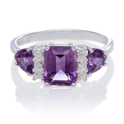 Genuine Amethyst Sterling Silver Ring Color Purple