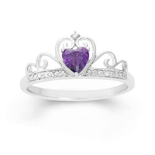 Simulated Heart-Shaped Amethyst & Cubic Zirconia Sterling Silver Ring