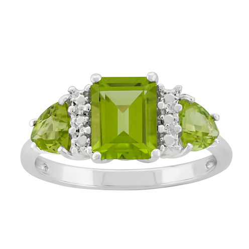 Genuine Peridot Sterling Silver Ring