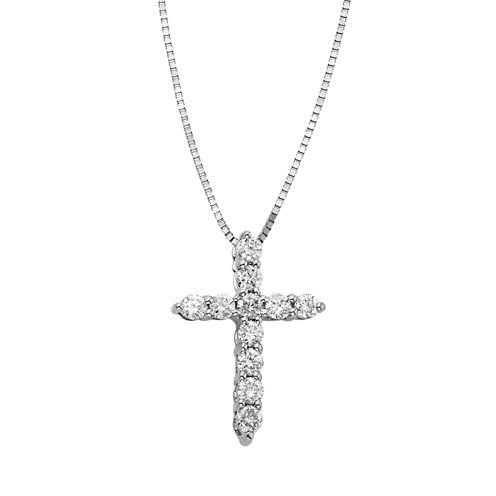 1/4 CT. T.W. Certified Diamond 14K White Gold Cross Pendant Necklace
