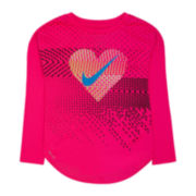 Nike® Long-Sleeve Heart Geo Tee - Preschool Girls 4-6x
