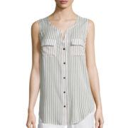 Liz Claiborne® Sleeveless Print Woven Loop Tunic Top