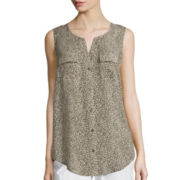 Liz Claiborne® Sleeveless Print Woven Loop Tunic Top