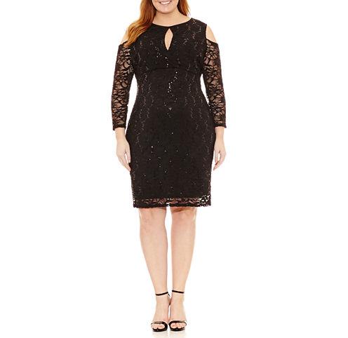 Blu Sage Long Sleeve Lace Sequin Sheath Dress-Plus