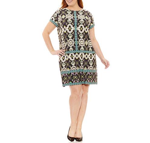 London Times Short Sleeve Sheath Dress-Plus