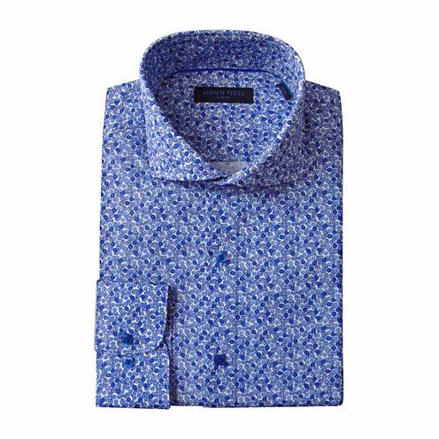 Andrew Fezza Long Sleeve Poplin Floral Dress Shirt - Slim