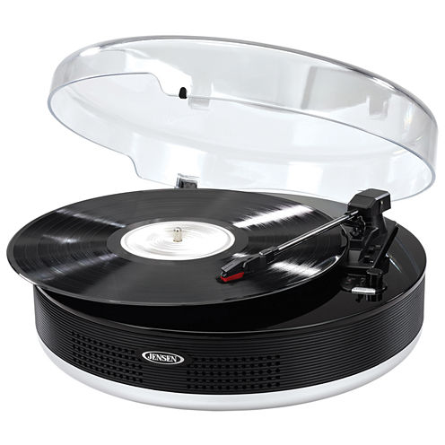 Jensen JTA-455 Bluetooth 3-Speed Stereo Turntable with Metal Tone Arm