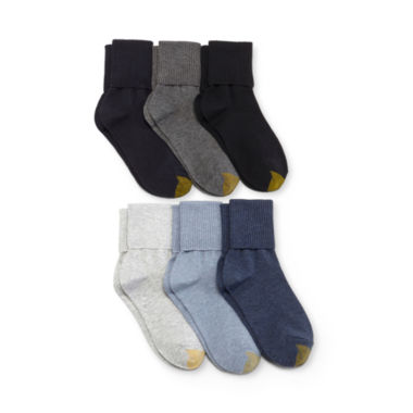 jcpenney.com | GoldToe® 6-pk. Turn-Cuff Crew Socks