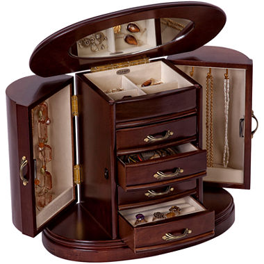 mele co heloise walnut finish wooden jewelry box jcpenney