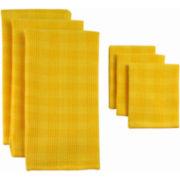 Plaid Set of 6 Dish Towels and Dish Cloths