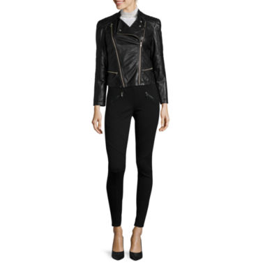 jcpenney.com | Decree® Faux-Leather Moto Jacket, Long-Sleeve Femme Blouse or Skinny Pants
