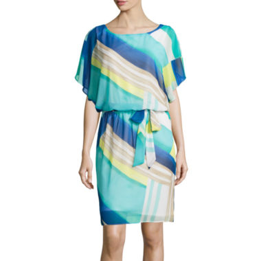jcpenney.com | SL Fashions Geo Abstract Print Belted Blouson