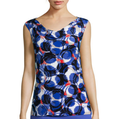 jcpenney.com | Black Label by Evan-Picone Sleeveless Cowlneck Circle Geo Print Blouse