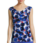 Black Label by Evan-Picone Sleeveless Cowlneck Circle Geo Print Blouse