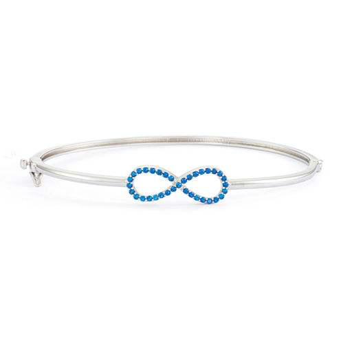 Simulated Sapphire Sterling Silver Hinged Infinity Bangle Bracelet