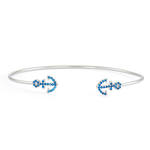 Simulated Blue Sapphire Sterling Silver Anchor Bangle Bracelet