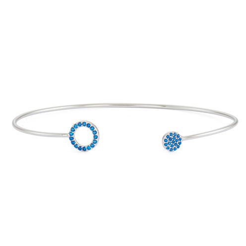 Lab-Created Blue Sapphire Sterling Silver Pave Bangle Bracelet