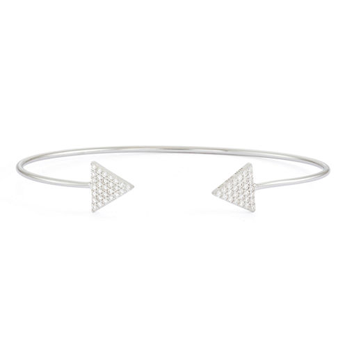 Simulated White Sapphire Sterling Silver Pave Arrow Bangle Bracelet