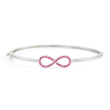 jcpenney.com | Lab-Created Ruby Sterling Silver Hinged Infinity Bangle Bracelet