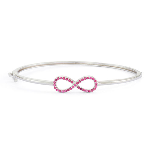 Lab-Created Ruby Sterling Silver Hinged Infinity Bangle Bracelet