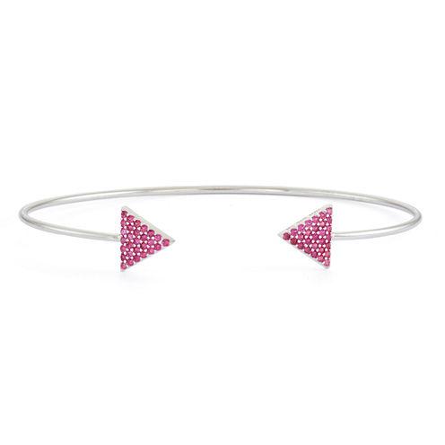 Lab-Created Ruby Sterling Silver Pave Arrow Bangle Bracelet