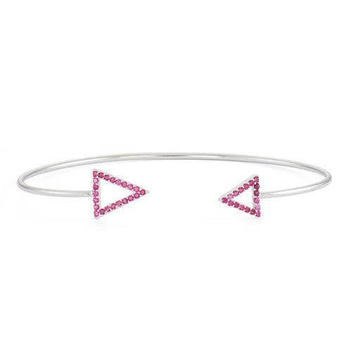 Lab-Created Ruby Sterling Silver Open Arrow Bangle Bracelet