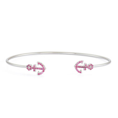 jcpenney.com | Simulated Ruby Sterling Silver Anchor Bangle Bracelet