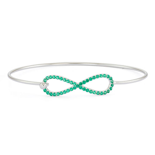 Simulated Emerald Sterling Silver Infinity Bangle Bracelet
