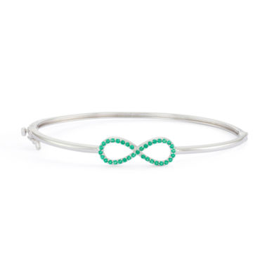 jcpenney.com | Simulated Emerald Sterling Silver Hinged Infinity Bangle Bracelet