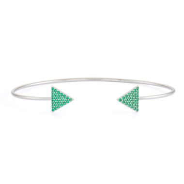 jcpenney.com | Simulated Emerald Sterling Silver Pave Arrow Bangle Bracelet