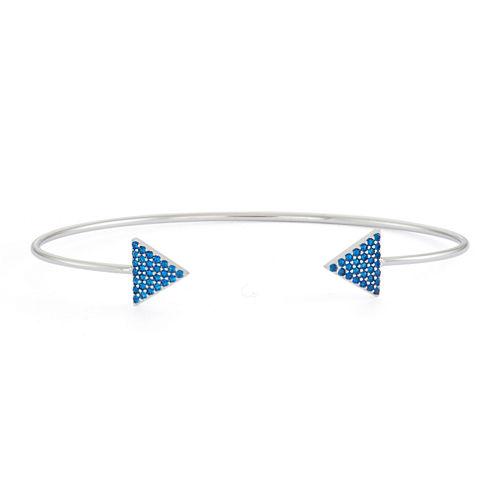 Simulated Sapphire Sterling Silver Pave Arrow Bangle Bracelet