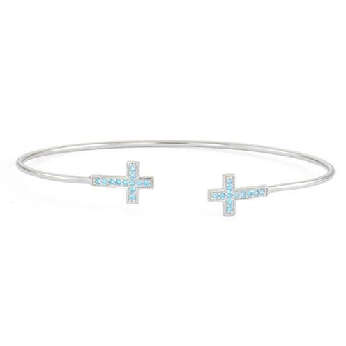 Simulated Blue Topaz Sterling Silver Cross Bangle Bracelet