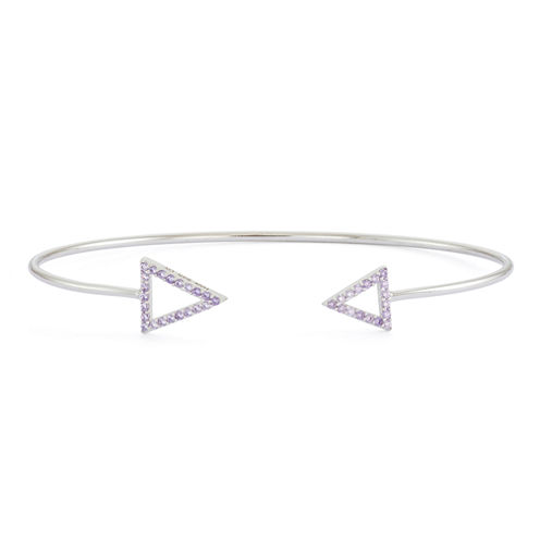 Simulated Amethyst Sterling Silver Open Arrow Bangle Bracelet