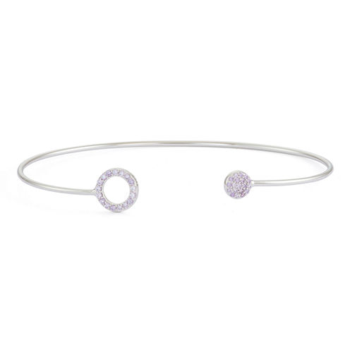 Simulated Amethyst Sterling Silver Circle Pave Bangle Bracelet