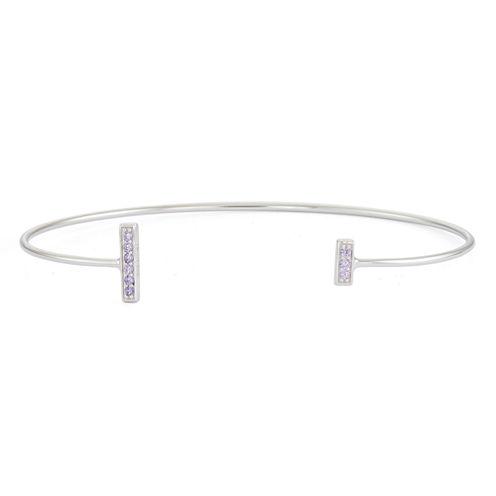 Simulated Amethyst Sterling Silver Bar Bangle Bracelet