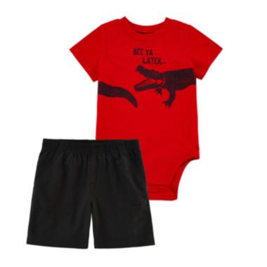 jcpenney.com | Okie Dokie® Short-Sleeve Graphic Bodysuit or Shorts - Baby Boys newborn-24m
