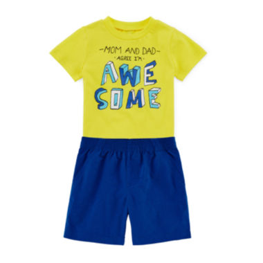 jcpenney.com | Okie Dokie® Short-Sleeve Attitude Tee or Shorts - Baby Boys newborn-24m