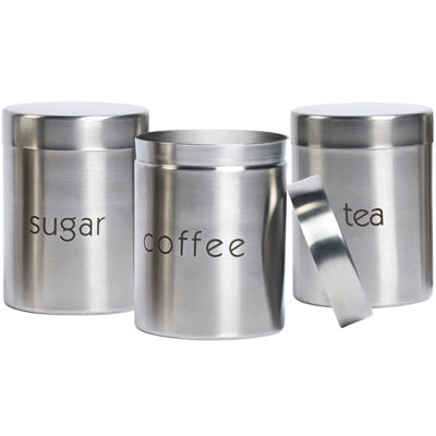 Stainless Steel Window Canister Set 3 Pc >> Basic Essentials® 3-pc. Stainless Steel Canister Set - JCPenney
