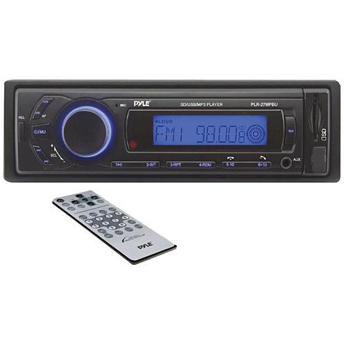 Pyle PLR27MPBU Single-DIN In-Dash Mechless AM/FM Receiver with Bluetooth
