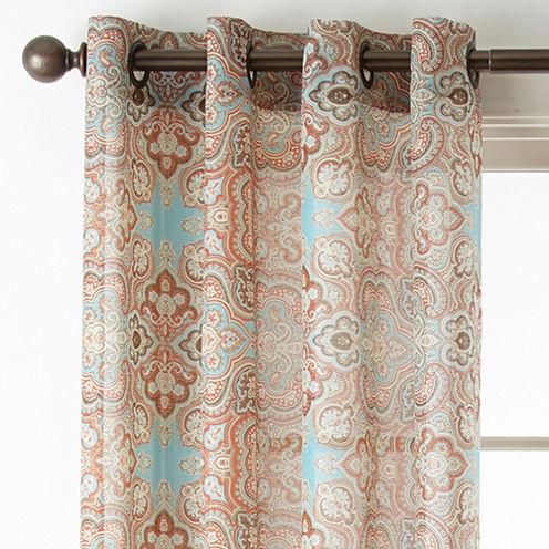 JCPenney Home Batiste Paisley Grommet-Top Sheer Curtain Panel