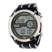 Everlast® Mens Black Silicone Strap Watch
