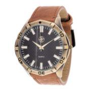 Zunammy® Mens Light Brown Leather Strap Watch