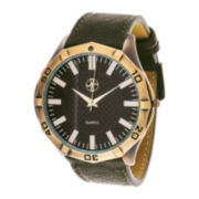 Zunammy® Mens Green Leather Strap Watch