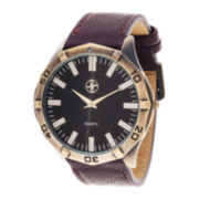 Zunammy® Mens Brown Leather Strap Watch