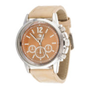Zunammy® Mens Beige Leather Strap Watch