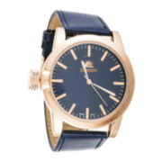 Zunammy® Mens Blue Leather Strap Watch
