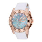 Invicta® Excursion Womens White Leather Strap Chronograph Watch 16100